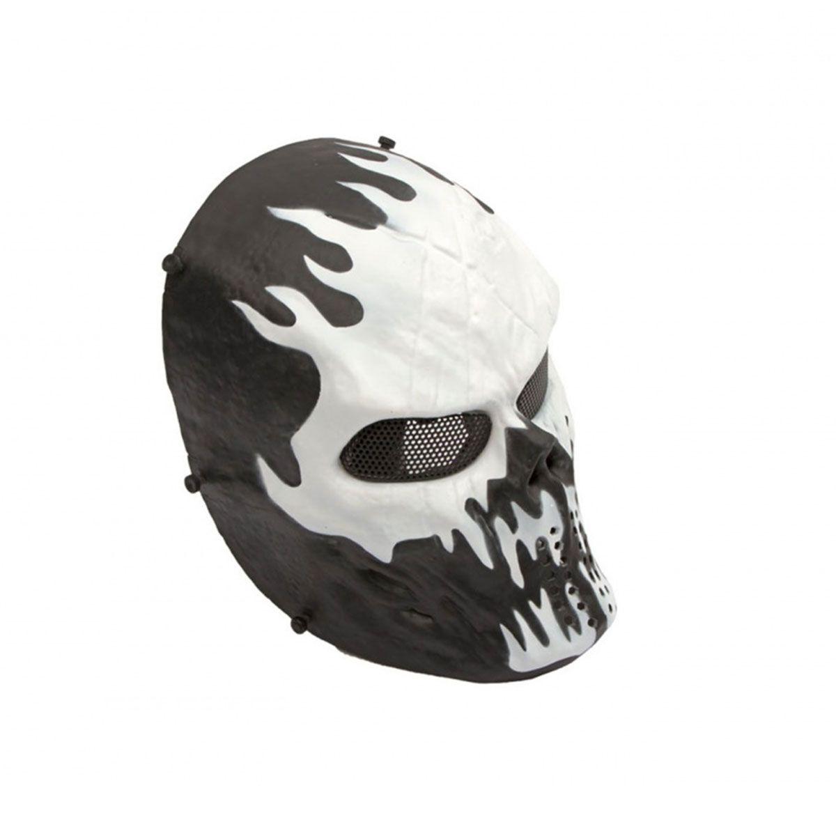 Máscara Tática Highlander Preta e Branca ABS Tela de Metal HY053