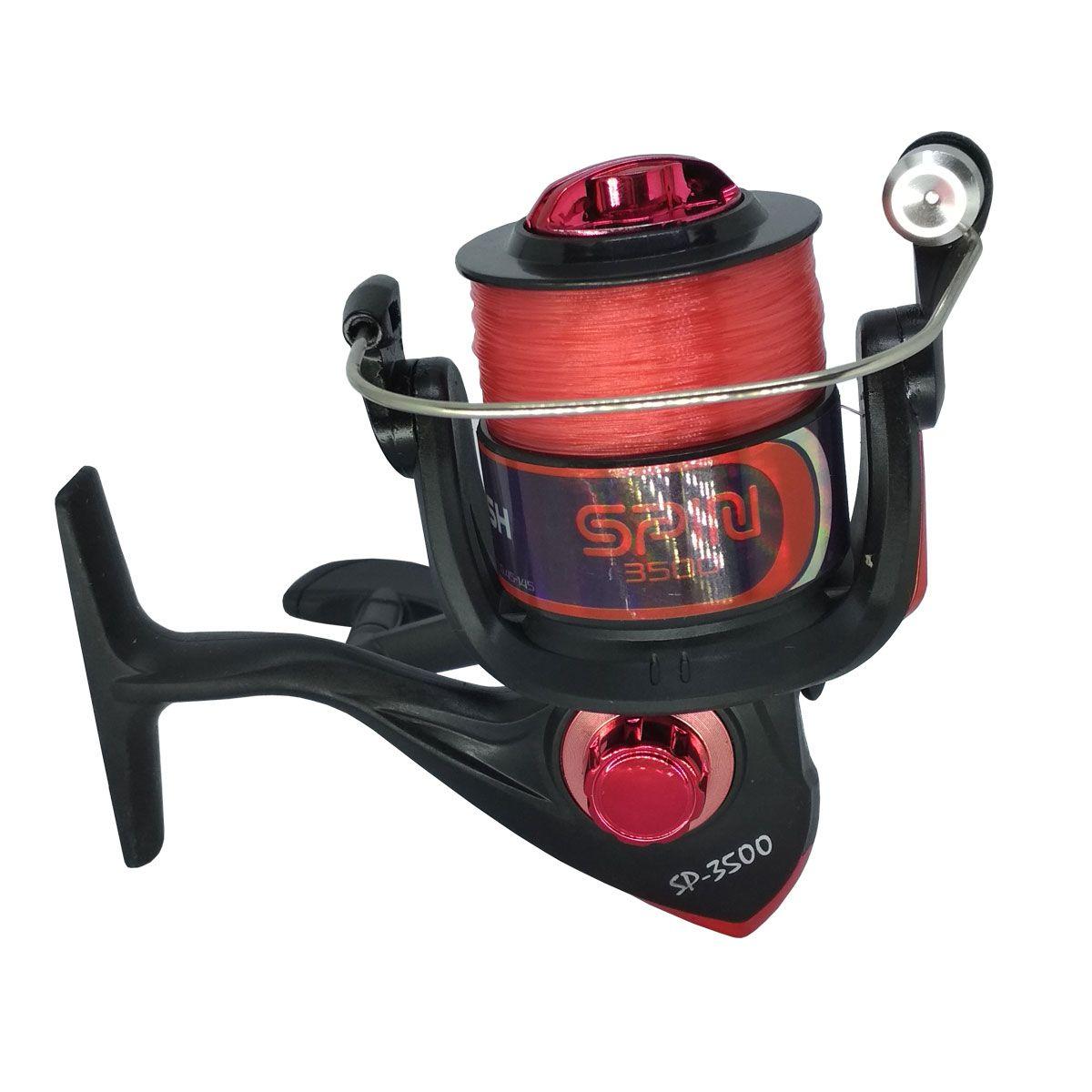 Molinete Plusfish Spin 3500 1 Rol 5.2:1 Vermelho