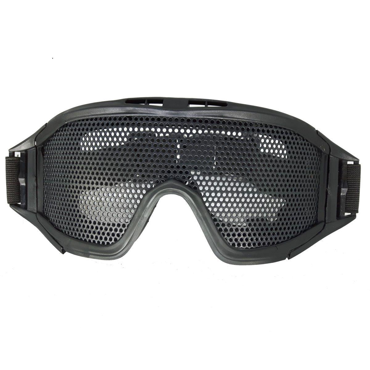 Óculos/Viseira de Proteção para Airsoft em Tela Grande de Metal Preto