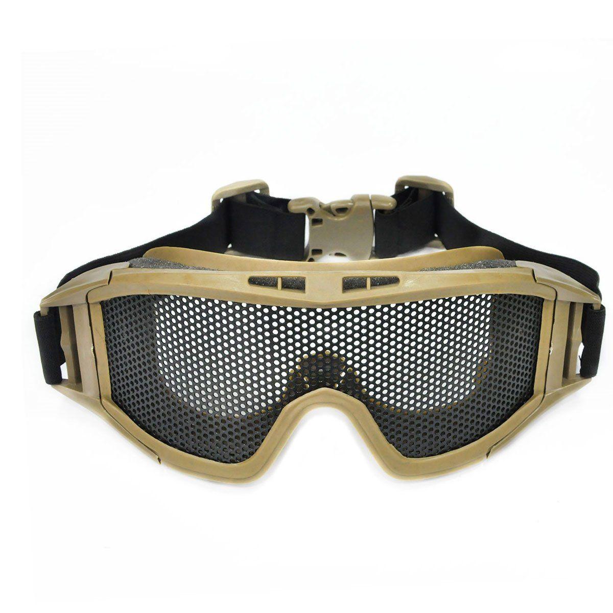Oculos/Viseira de Protecao para Airsoft em Tela Grande de Metal Tan