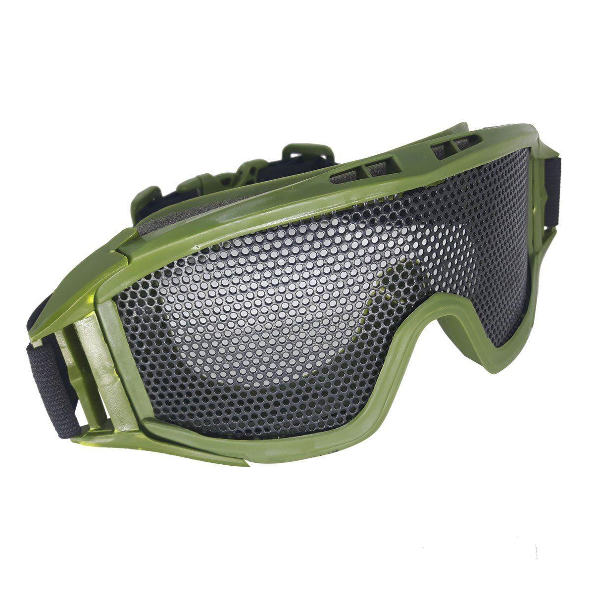 Oculos/Viseira de Protecao para Airsoft em Tela Grande de Metal Verde