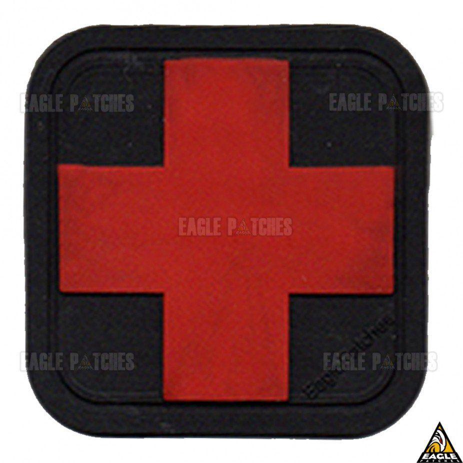 Patch Eagle Patches Emborrachado Cruz Vermelha/Preto - 6cm