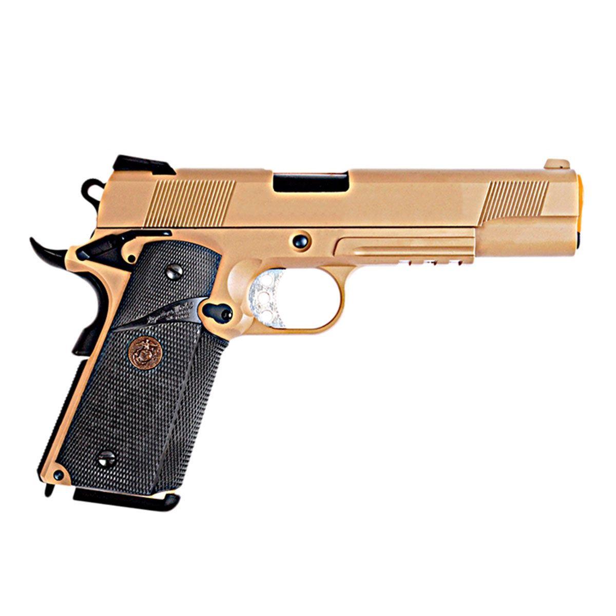 Pistola Airsoft 1911 MEU TAN Full Metal GBB - WE