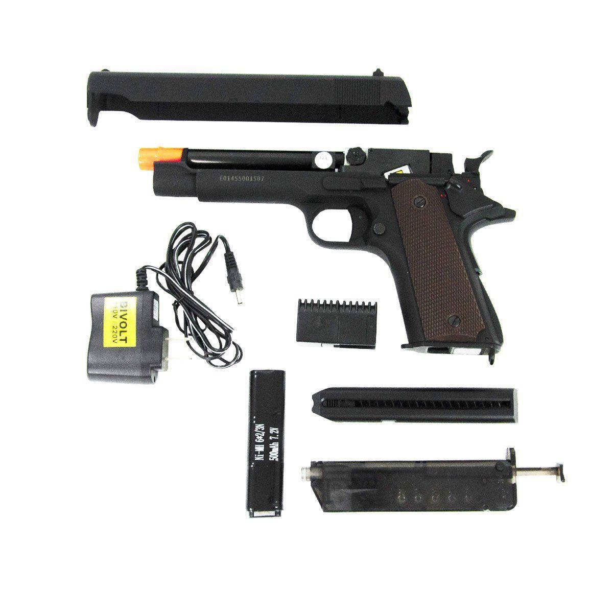 Pistola Airsoft CYMA Colt M1911 CM.123 Slide Metal Elétrica Bivolt