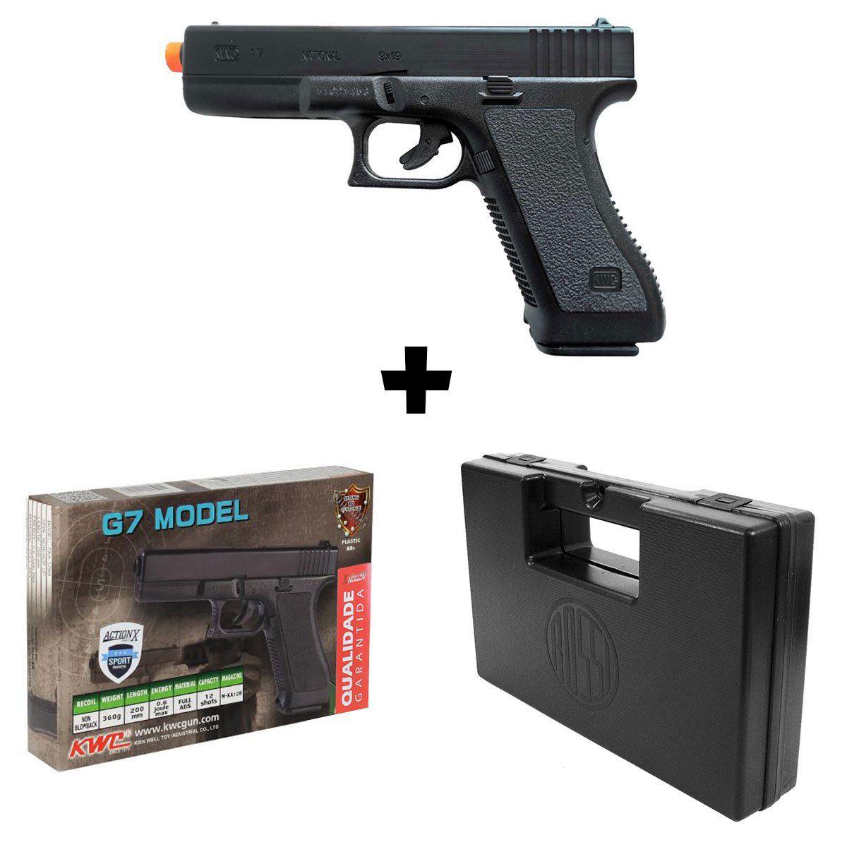 Pistola de Airsoft KWC Glock G7 Spring Calibre 6mm + Maleta