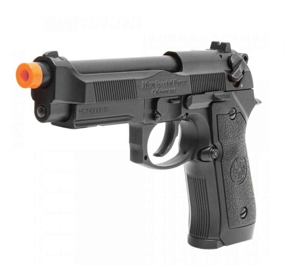 Pistola Airsoft HFC a Gás GBB PT92 Blowback com Slide Metal 6mm