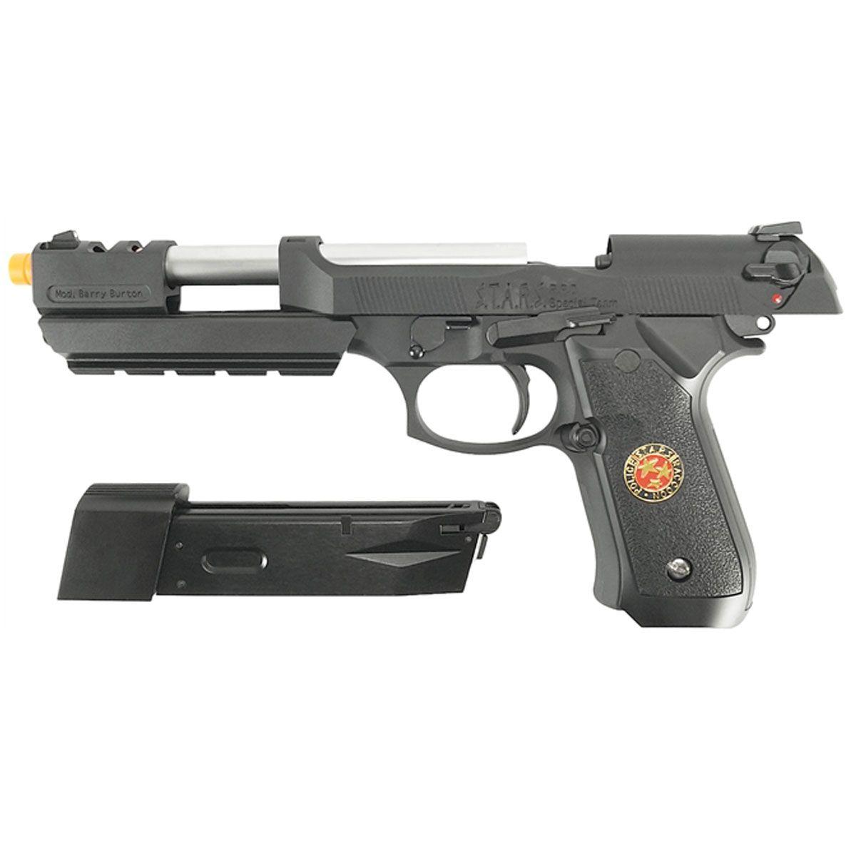 Pistola de Airsoft WE M92 Biohazard Barry Burton Black GBB