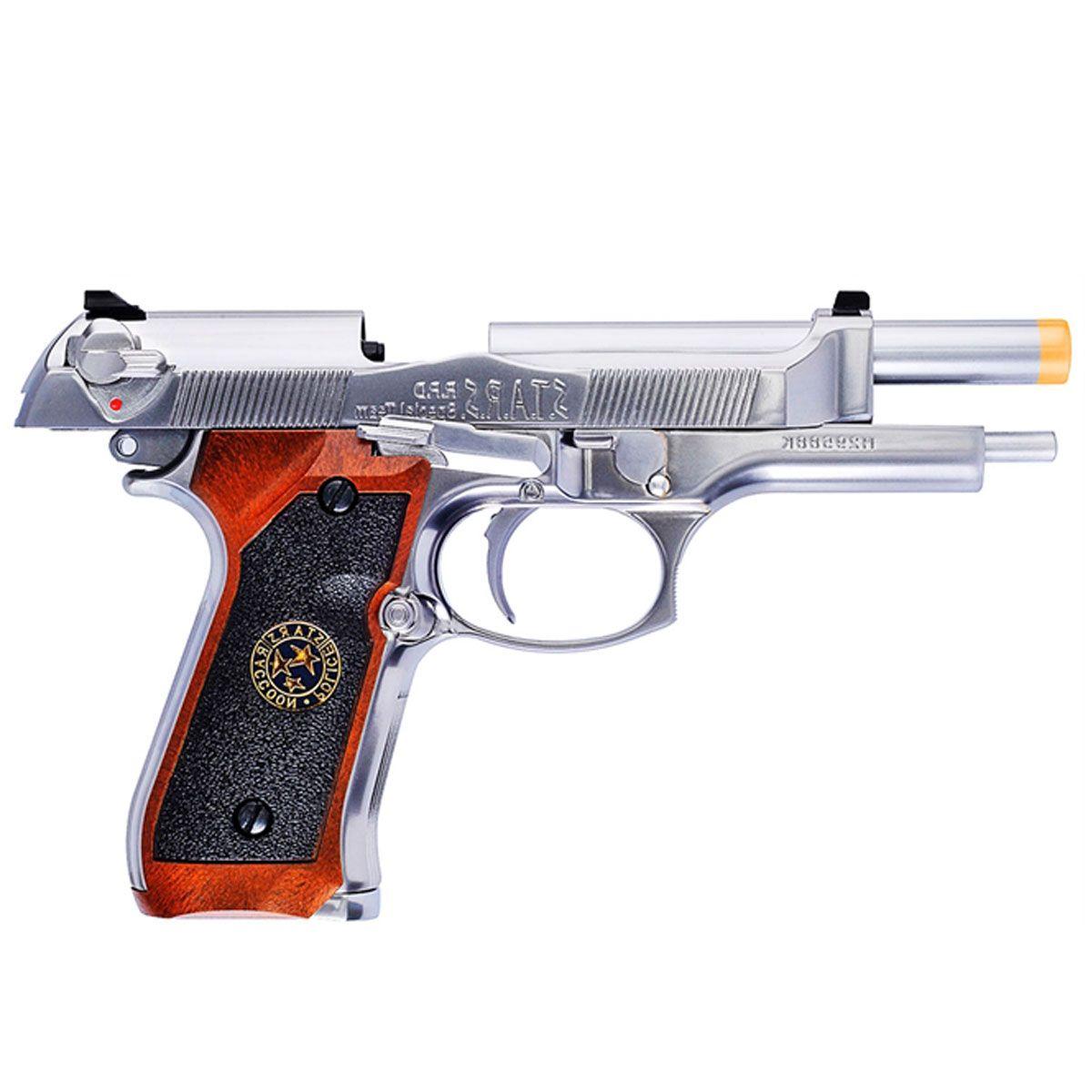 Pistola Airsoft M92 Biohazard Cromada Full Metal GBB - WE