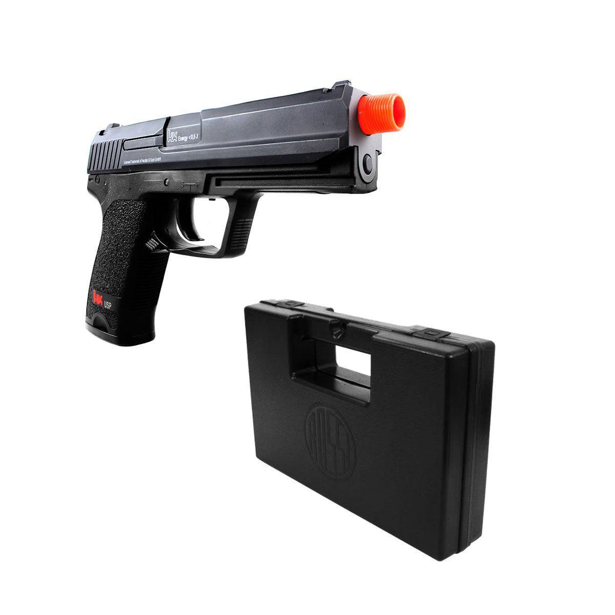 Pistola Airsoft Umarex H&K USP Tactical Slide Metal Elétrica + Maleta