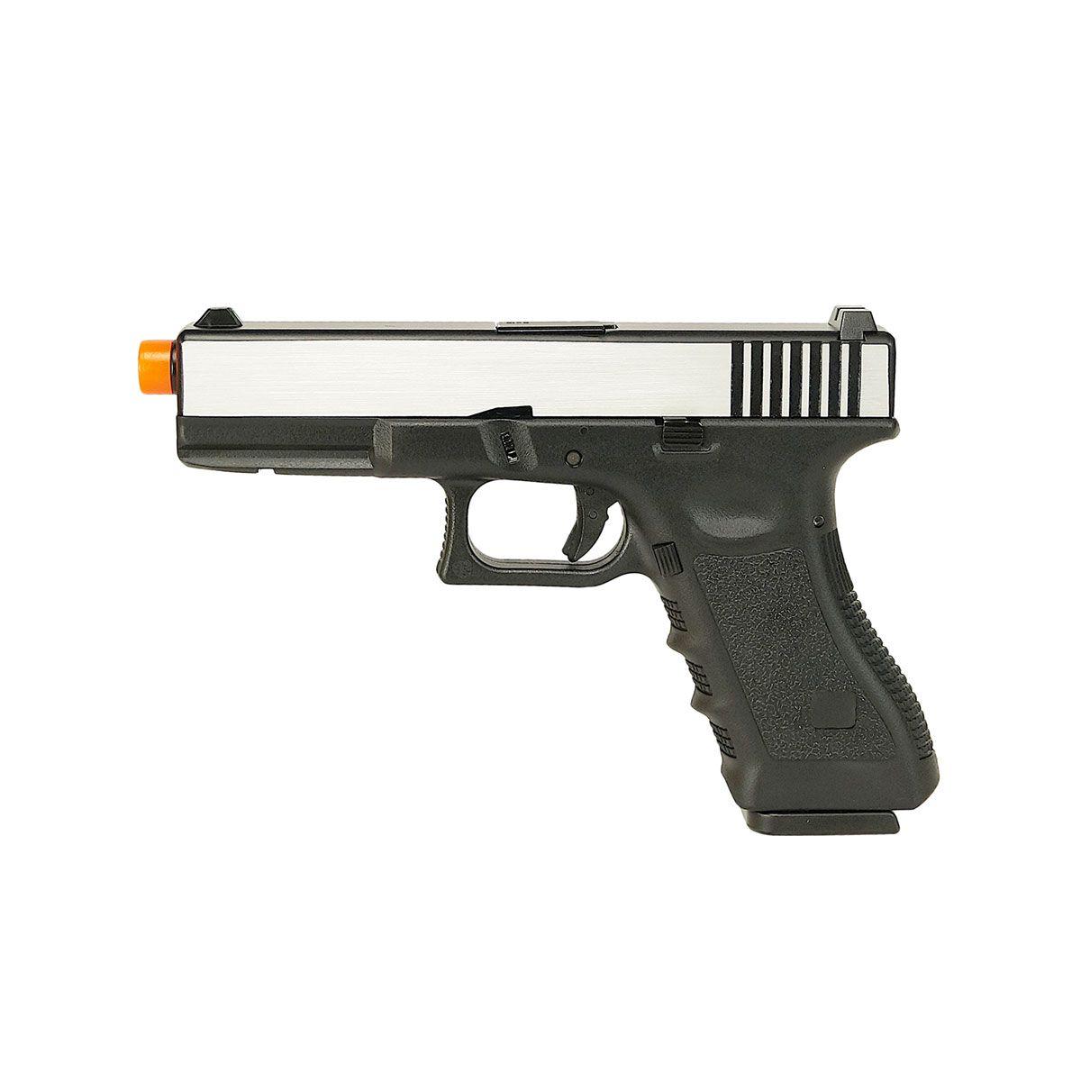 Pistola de Airsoft a Gás GBB Green Gas Glock R17 Black/Silver Blowback 6mm