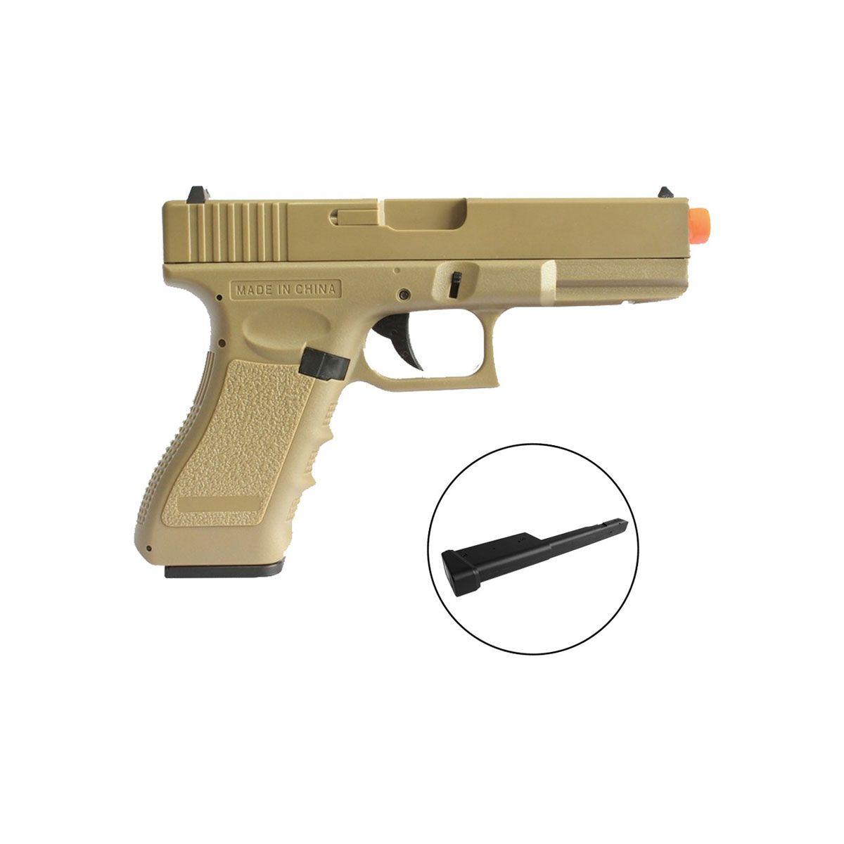 Pistola de Airsoft Glock G18 Cm 030 Tan + Magazine Estendido (combo)