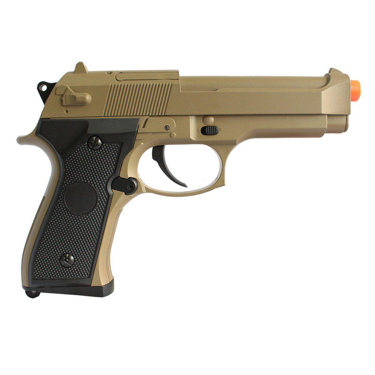 Pistola Airsoft CYMA Beretta M92F Tan Slide Metal Elétrica Bivolt