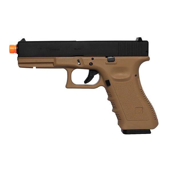 Pistola de Airsoft WE a Gás GBB G17A Blowback GEN 3 Frame Tan 6mm