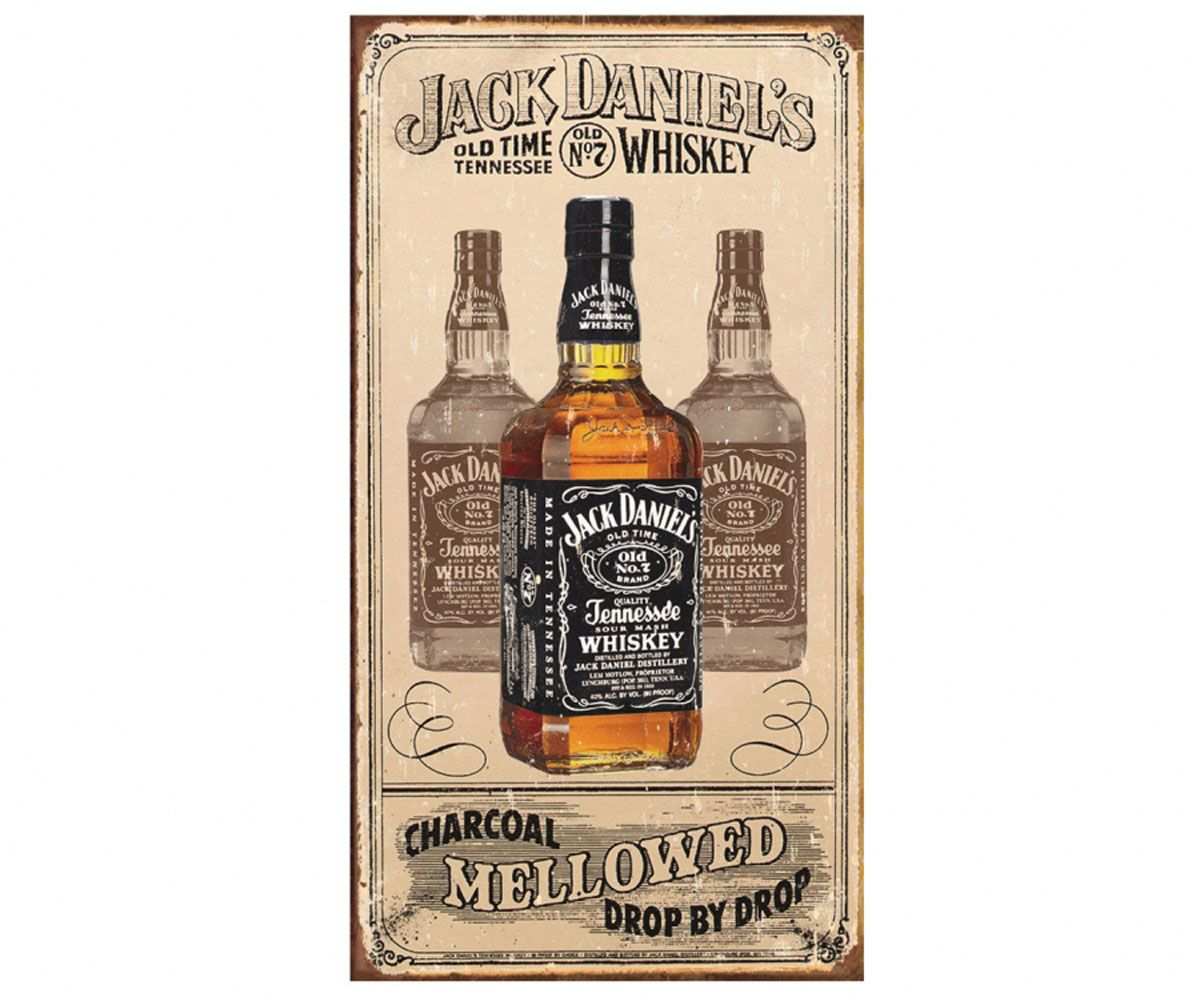 Placa Metálica Decorativa Retangular 23x39cm Modelo Jack Daniel's