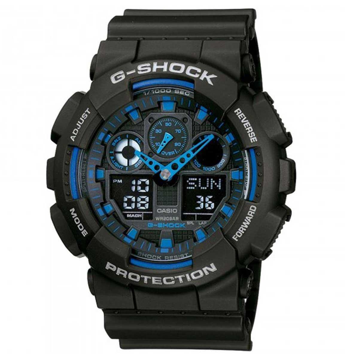Relógio de Pulso Masculino Casio G-Shock GA-100-1A2DR - Preto com Azul