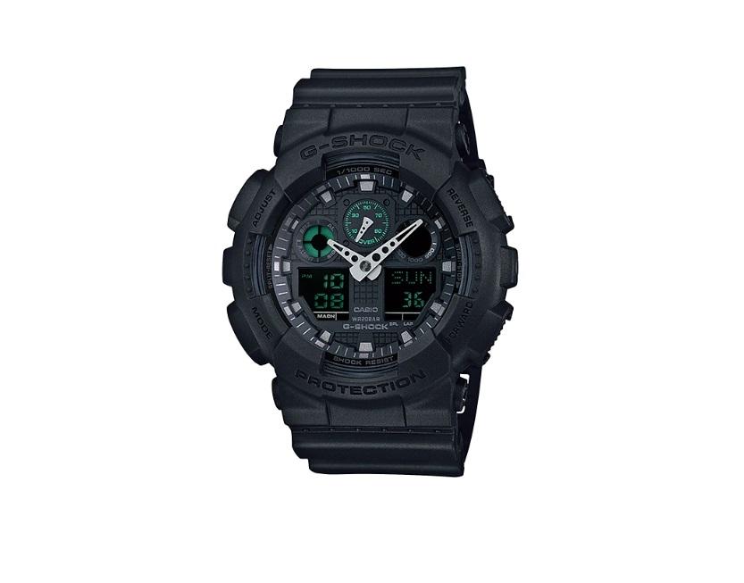 Relógio de Pulso Masculino Casio G-ShocK GA-100MB-1ADR - Fundo Preto e Verde