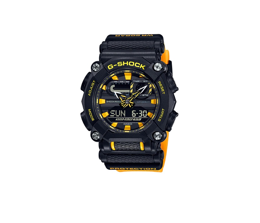 Relógio de Pulso Masculino Casio G-Shock GA-900A-1A9DR - Preto com Amarelo