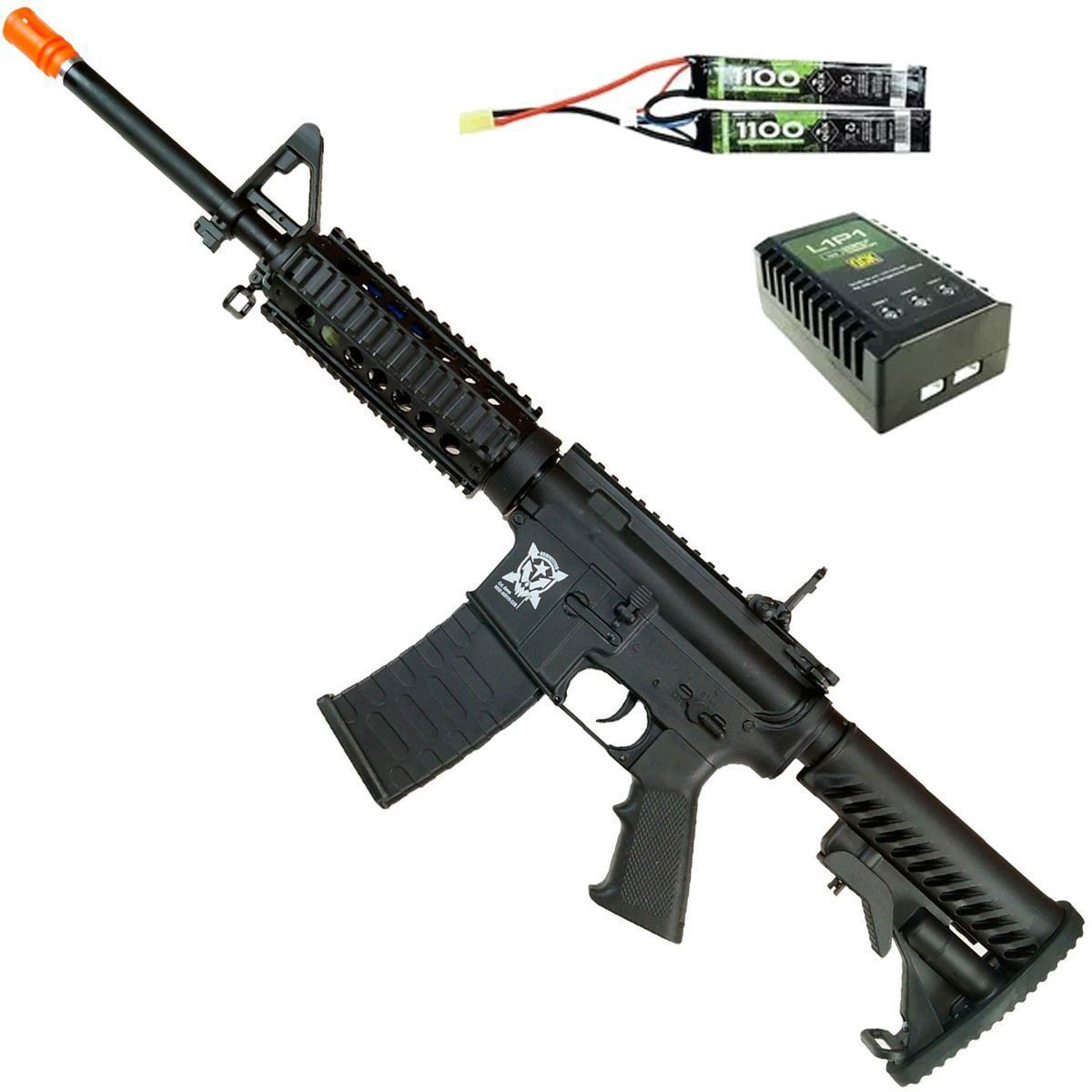 Rifle Airsoft APS M4 Kompetitor RIS Blowback Elétrico Bivolt 6mm
