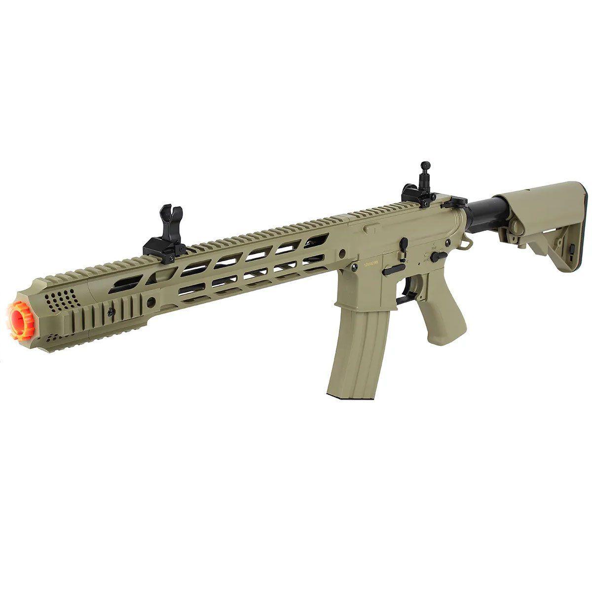 Rifle Airsoft Cyma M4A1 CM518 Keymod TAN Elétrico Bivolt 6mm