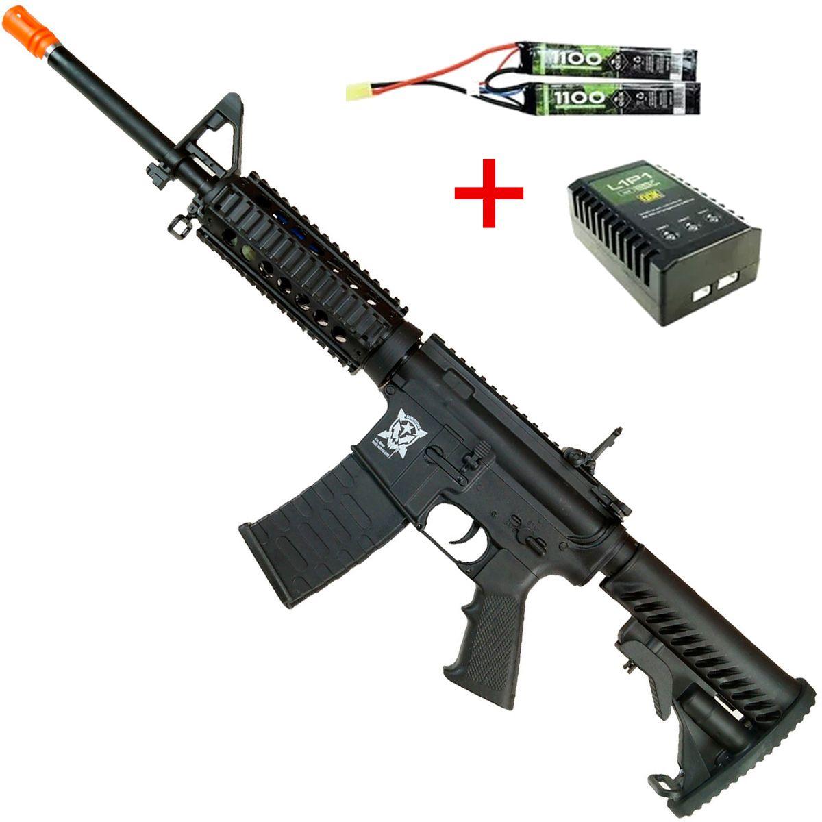 Rifle de Airsoft Eletrico M4 APS Kompetitor RIS Blowback  Bateria  Carregador