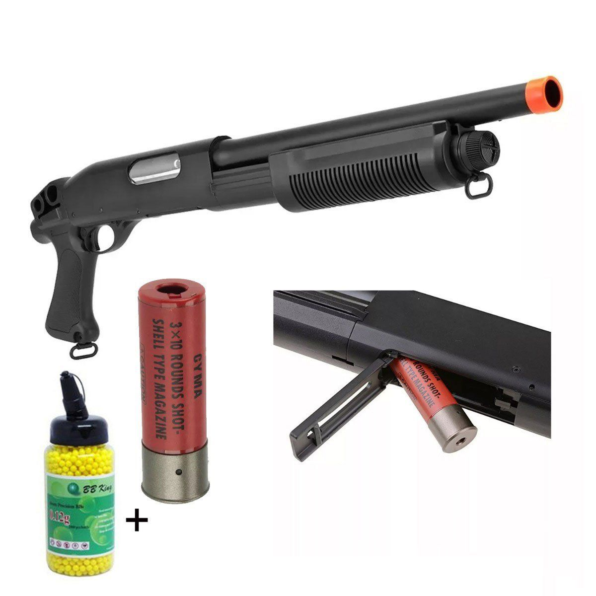 Shotgun Airsoft CYMA M870 CM351 Spring 6mm + BB King 0,12g