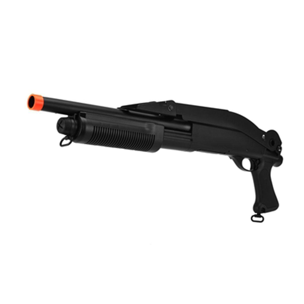 Shotgun Airsoft CYMA M870 FS CM352 Coronha Rebatível Spring + BB King 0,12g