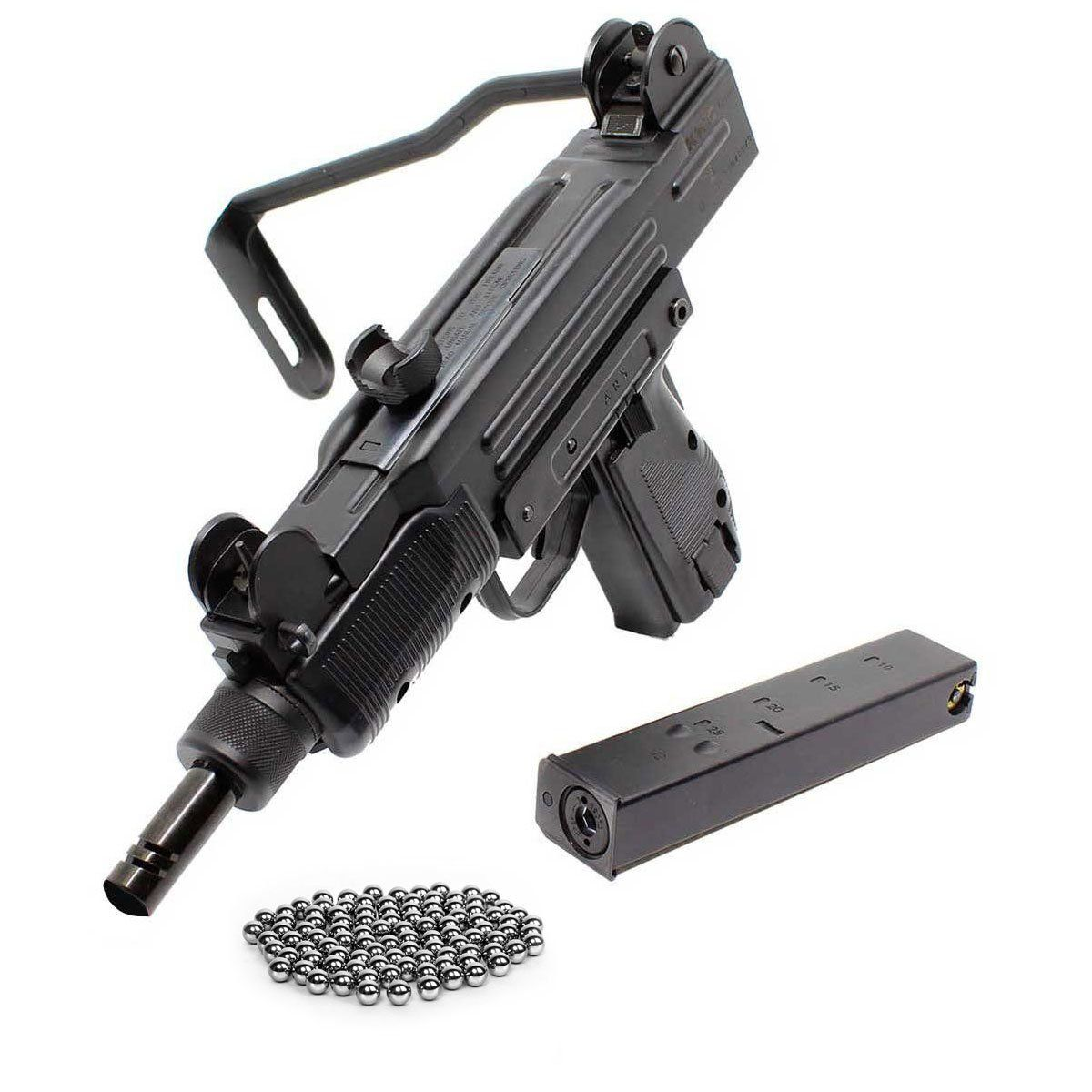 Submetralhadora de Pressão KWC Uzi Metal Calibre 4,5 mm CO2