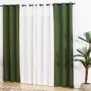 Cortina Para Sala 4,00x2,50 Bicolor Verde e Branca...