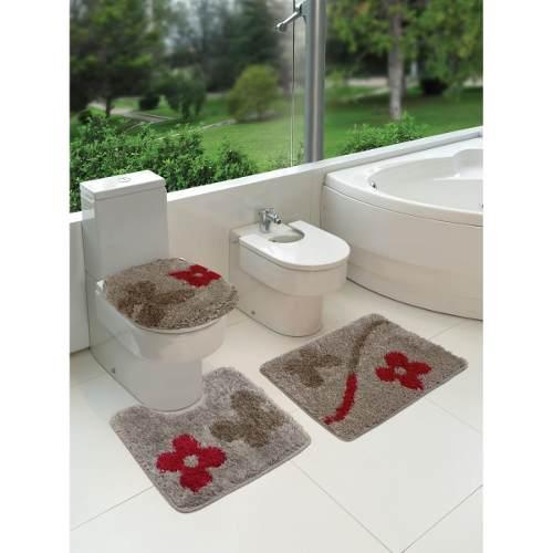 Tapete De Banheiro Kit Com 3 Peças Summer- Jolitex- Admirare