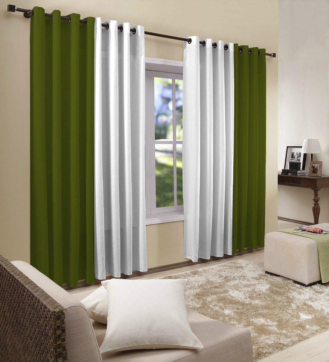 Cortina Para Sala 4,00x2,50 Bicolor Verde | Admirare