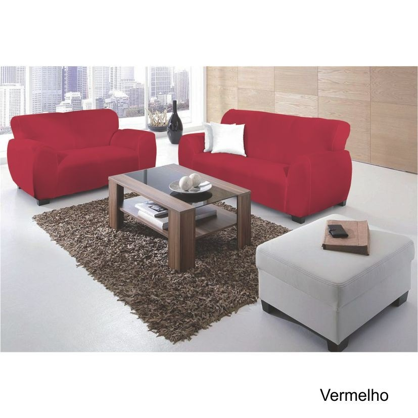 Capa Sofá Malha Dupla 2 E 3 Lug Vermelha BelCapas