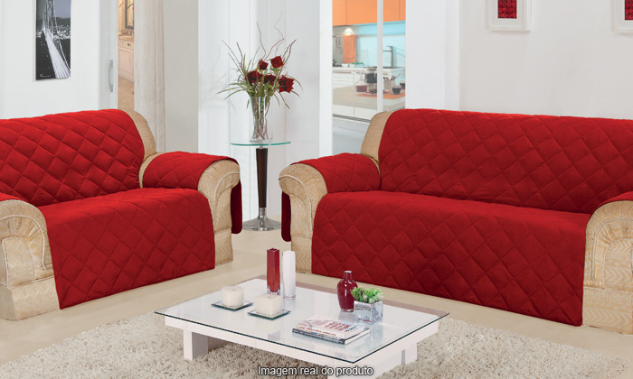 Protetor De Sofa 2 E 3 Lugares Com Porta Controle  Vermelha