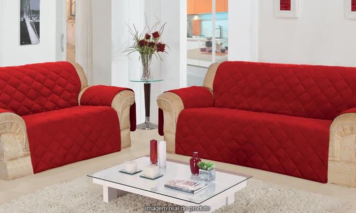 Protetor Sofa 2 Lugares C/ Porta Controle Vermelha | Guerreiro
