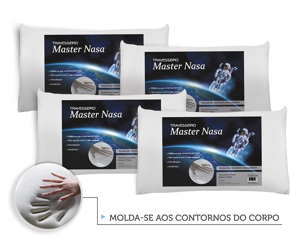 Kit 4 Travesseiros Nasa Viscoelástico + Protetores Com Ziper