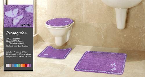 Tapete De Banheiro Kit 3 Peças 100% Algodão Ibiza