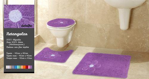 Kit Tapete Para Banheiro 3 Peças 100% Algodão Rominha