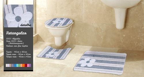 Kit Tapete Para Banheiro 3 Peças 100% Algodão Barcelona