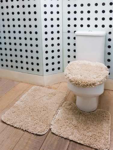 Tapete De Banheiro Kit 3 Peças 100% Algodão - Admirare