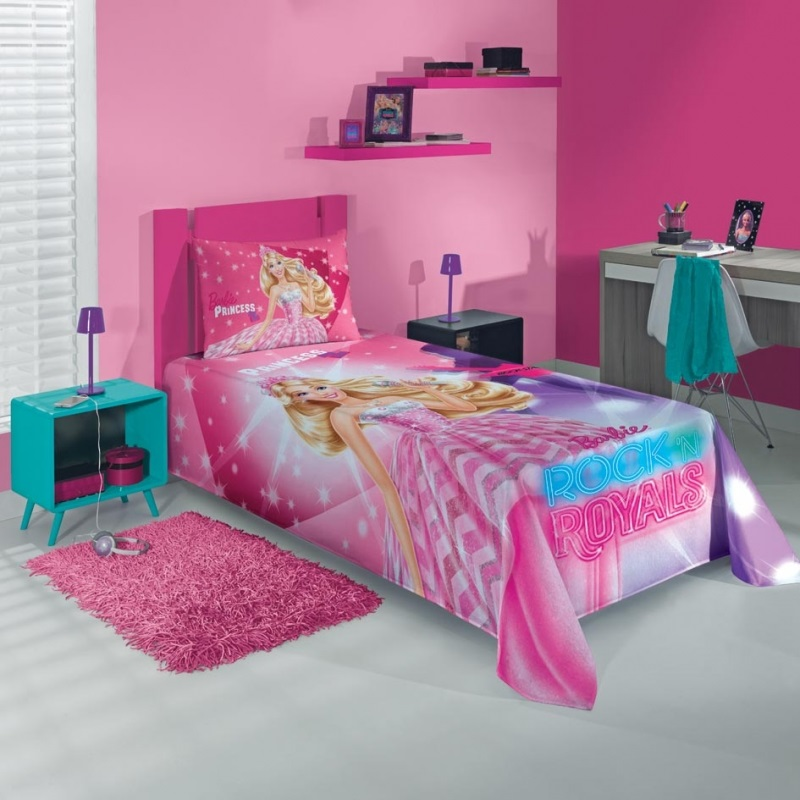 Colcha Simples Estampada Barbie Royals 150 x 210 - Lepper