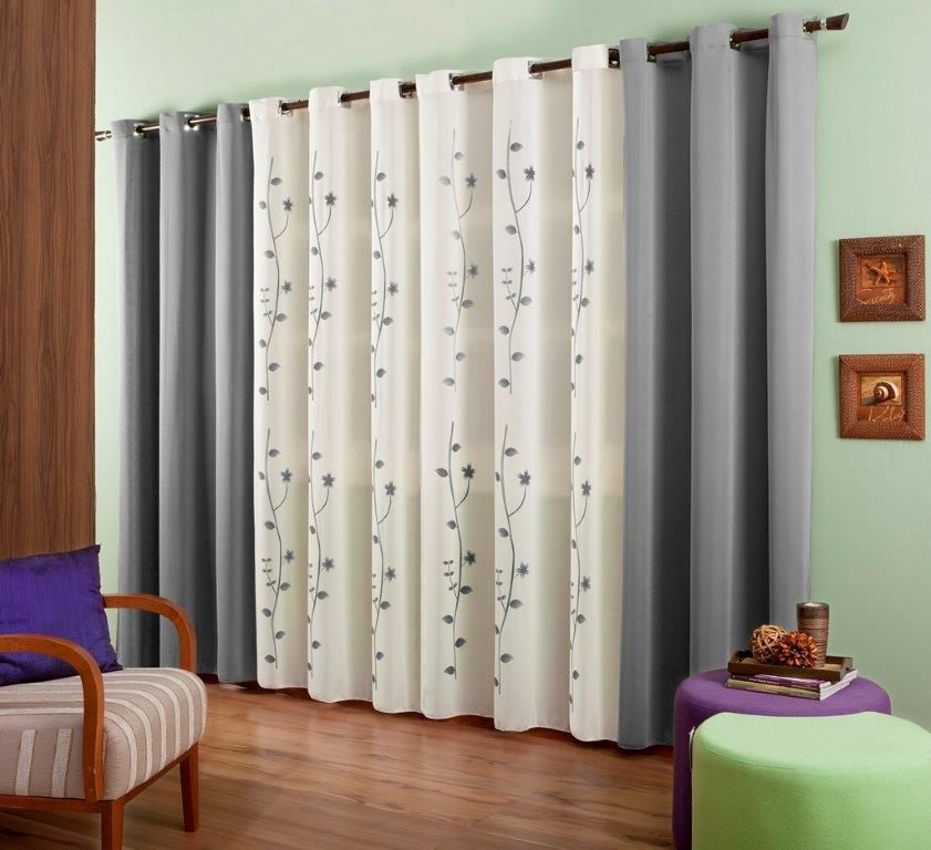 Cortina Bicolor Estampada Composê 3,00x2,40 | Cia Das Cortinas