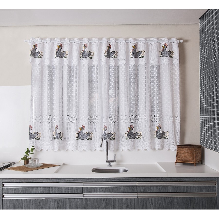 Cortina De Renda Para Janela de Cozinha 2,10 x 1,20 - Premium