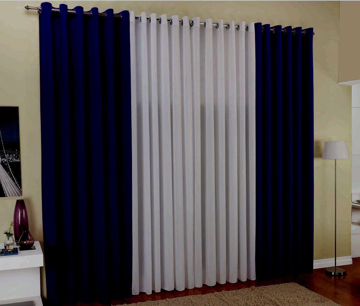 Cortina Para Sala Bicolor Rústica  4,00x2,50 Azul Marinho E Branca