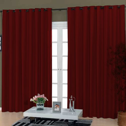 Cortina Para Sala Rustica Vermelha 2,80x2,50  Admirare
