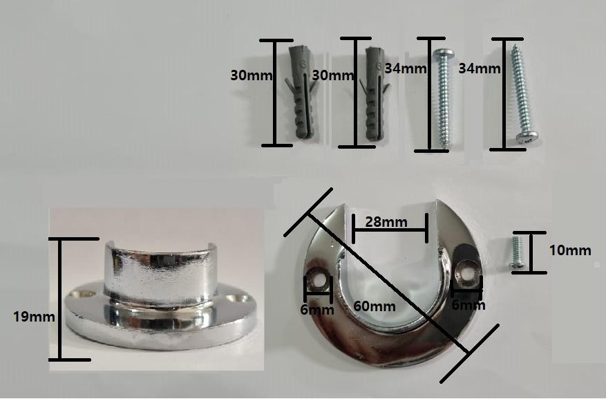 Flange Alumínio para Varão de Cortina 28mm 1 PAR | Admirare