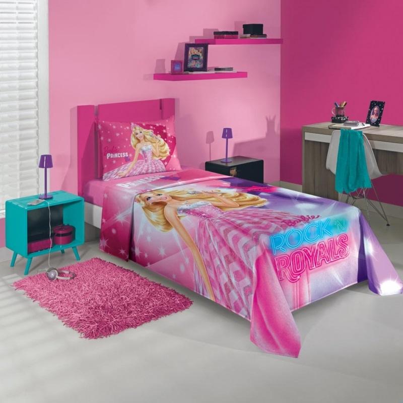 Jogo de cama 3 Peças Barbie Rock Royals   Lepper