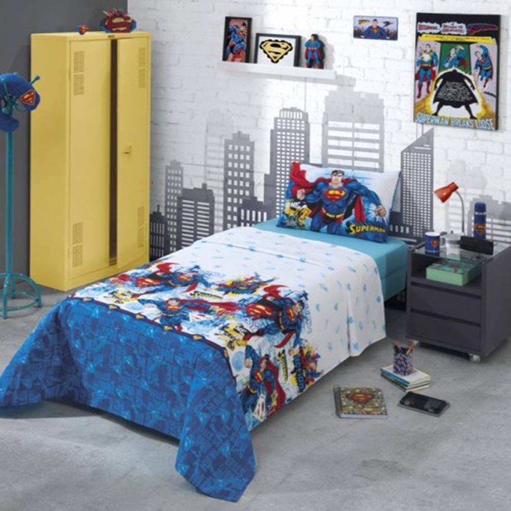 Jogo de cama Solteiro 100% Algodão Superman   Dohler