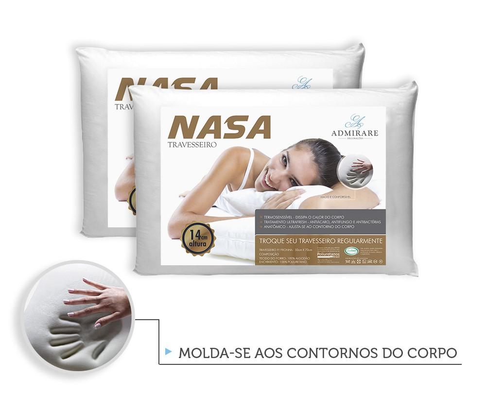 Kit 2 Travesseiros Antialergico Nasa 14 cm | Admirare