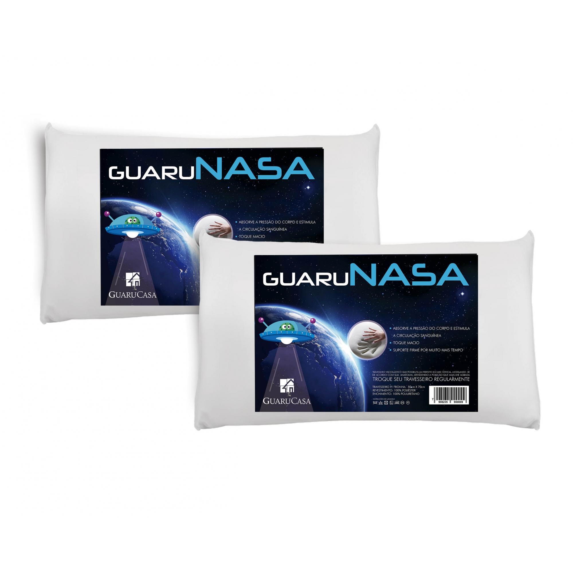 Kit 2 Travesseiros Nasa Viscoelástico Guaru Nasa + Protetores Com Ziper