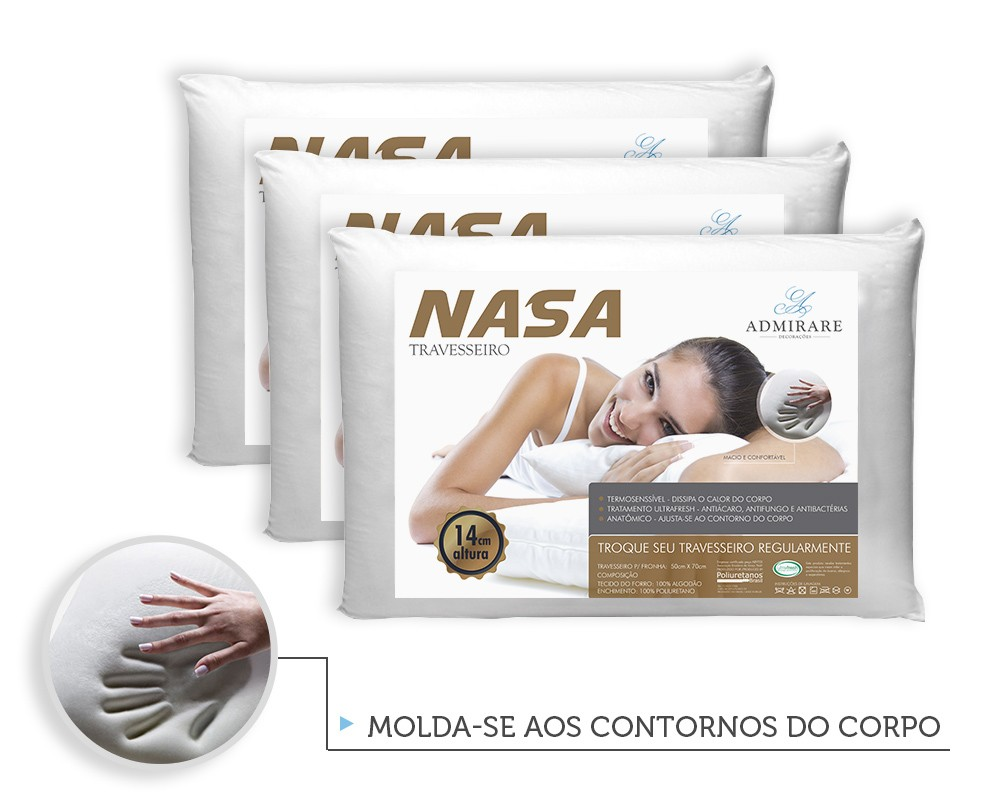 Kit 3 Travesseiros Antialergico Nasa 14 cm | Admirare