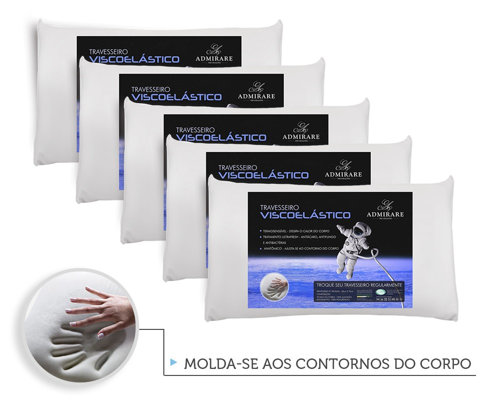 Kit 5 Travesseiros Antialergico Viscoelastico Nasa | Admirare